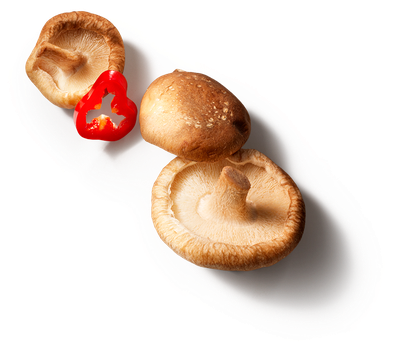 red pepper / mushrooms